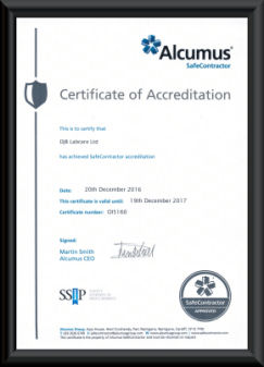 DJB Labcare Ltd Safe Contractor Certificate